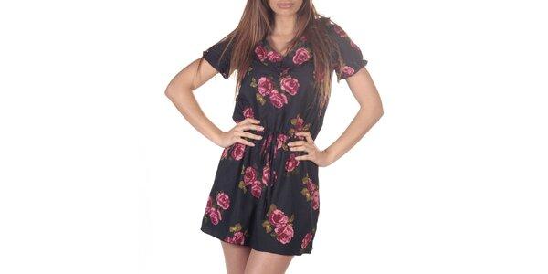 Dámské černé šaty s potiskem růží Azura