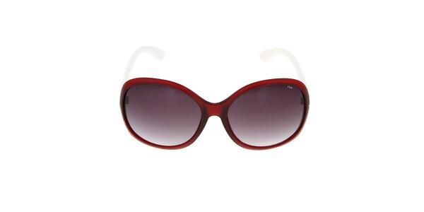 Dámské červené sluneční brýle s bílými stranicemi Fila