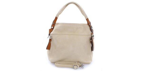 Dámská světle béžová kabelka s hnědými detaily Castella & Beige