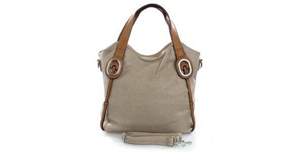 Dámská šedá kabelka s hnědými popruhy Castella & Beige