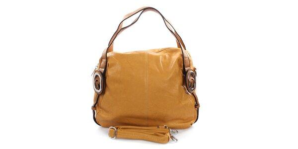 Dámská okrová kabelka s kovovými kolečky Castella & Beige