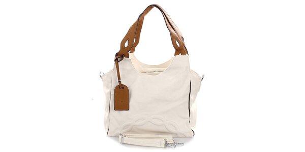 Dámská světlá kabelka s hnědými poutky Castella & Beige