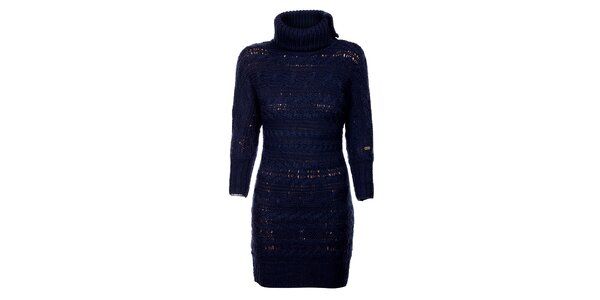 Tmavě modré svetrové šaty Tommy Hilfiger