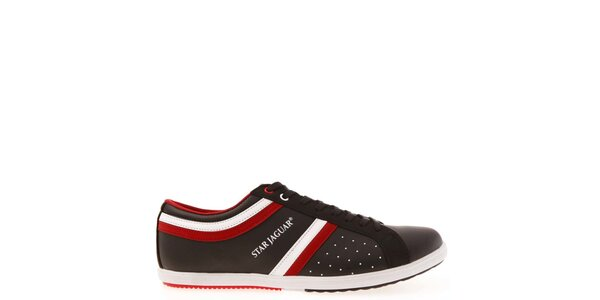 Pánské černé tenisky s červeno-bílými proužky Jaguar
