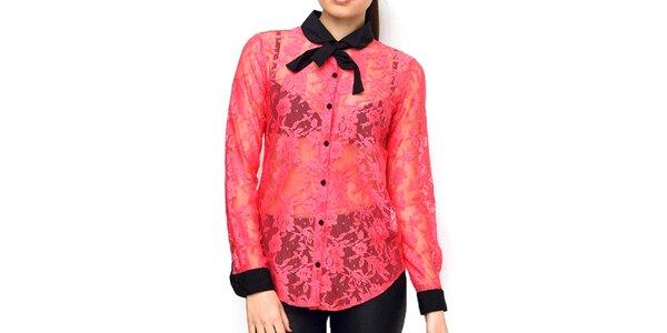 Dámská transparentní krajková halenka růžová Deck
