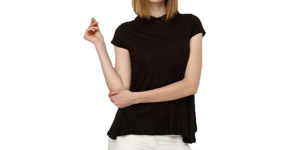Dámský volný černý top s límečkem Deck