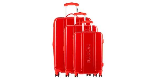 Set tří červených cestovních kufrů Renoma