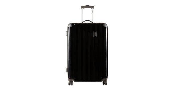 Větší černý kufr s šedými rohy Renoma