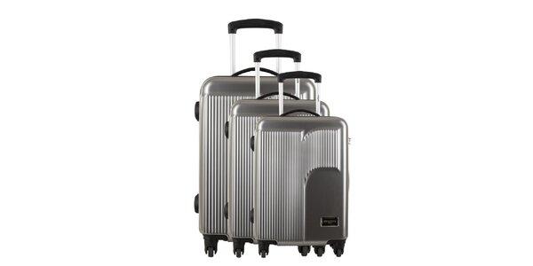 Sada tří stříbrošedých kufrů s reliéfním logem Renoma