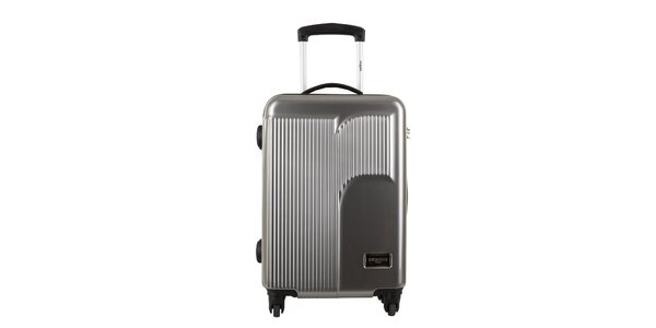 Větší stříbrošedý kufr s reliéfním logem Renoma