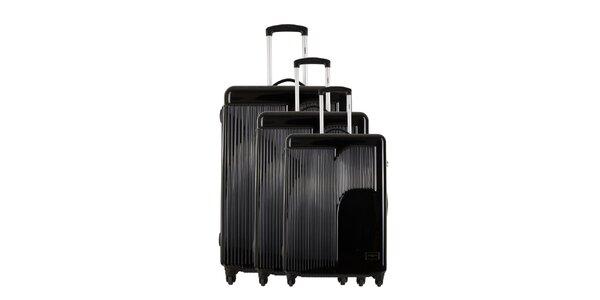 Sada tří černých kufrů s reliéfním logem Renoma