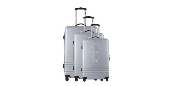 Sada tří stříbrošedých kufrů Renoma