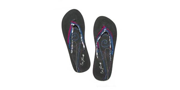 Dámské černé pěnové žabky s barevnými tkaničkami Exe Jeans