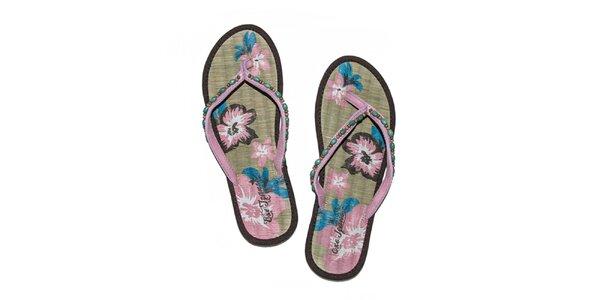Dámské hnědo-růžové žabky s korálky Exe Jeans