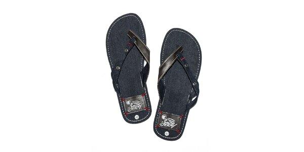 Pánské tmavě modré denimové žabky Exe Jeans