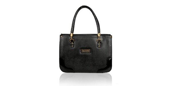 Dámská černá kabelka se zlatými detaily Verde Porte