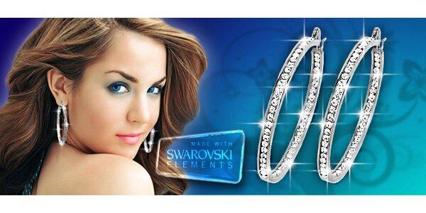 Třpytivé kruhové náušnice s krystaly Swarovski Elements