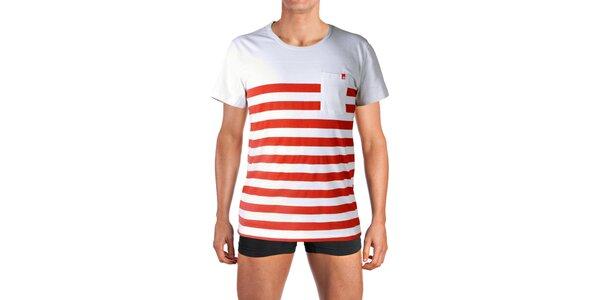 Pánské bílé tričko s červenými proužky Mosmann