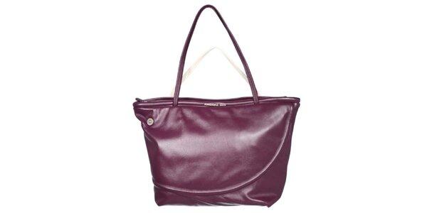Dámská fialová kabelka se smetanovým poutkem Mandarina Duck