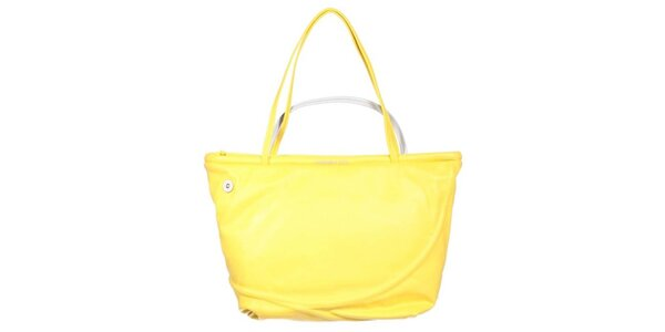 Dámská žlutá kabelka se stříbrným poutkem Mandarina Duck