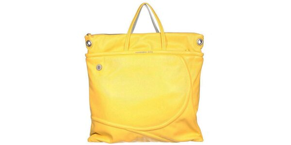 Dámská žluto-stříbrná čtvercová kabelka Mandarina Duck