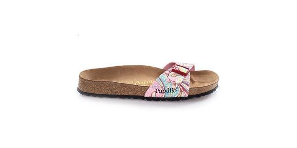 Hnědé pantofle s barevně vzorovaným páskem Papillio