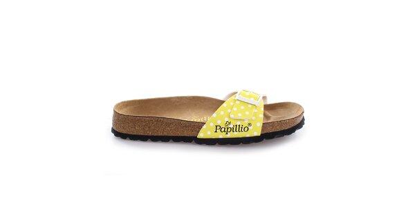 Hnědé pantofle s puntíkovaným žlutým páskem Papillio