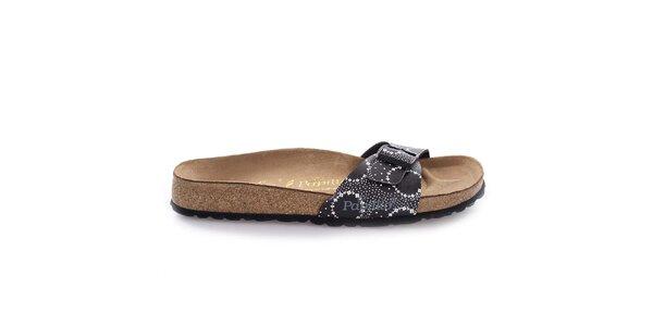 Hnědé pantofle s černým vzorovaným páskem Papillio