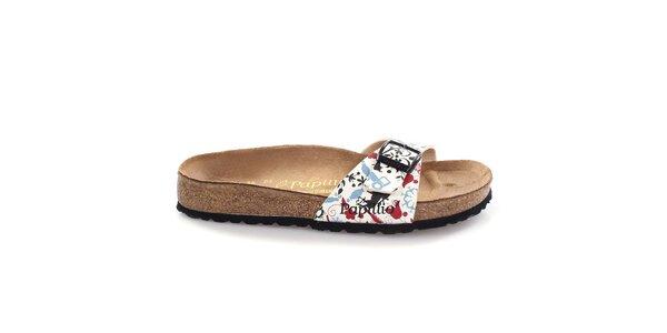 Hnědé pantofle s bílým vzorovaným páskem Papillio