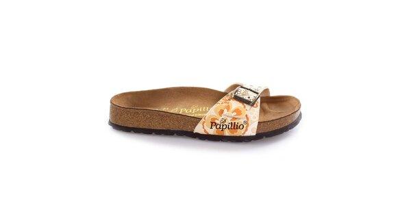 Hnědé pantofle s květinovým páskem Papillio