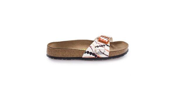 Hnědé pantofle s barevně puntíkovaným páskem Papillio