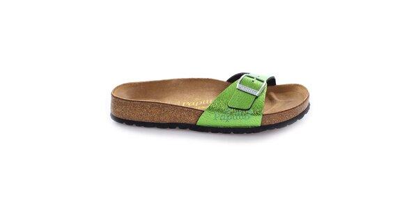 Hnědé pantofle se zeleným páskem Papillio