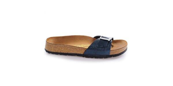 Hnědé pantofle s tmavě modrým páskem Papillio