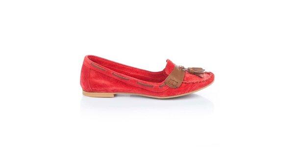 Dámské červené semišové loafers s třásněmi Bueno