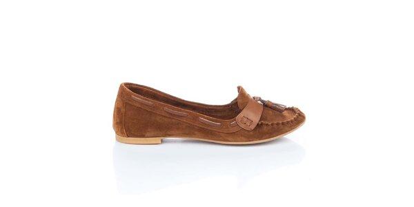 Dámské hnědé semišové loafers s třásněmi Bueno