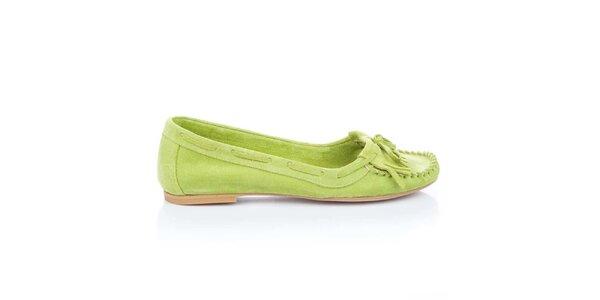 Dámské limetkové semišové loafers s třásněmi a mašlí Bueno