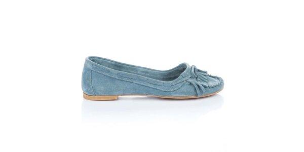 Dámské světle modré semišové loafers s třásněmi a mašlí Bueno