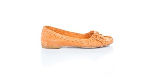Dámské oranžové semišové loafers s třásněmi a mašlí Bueno