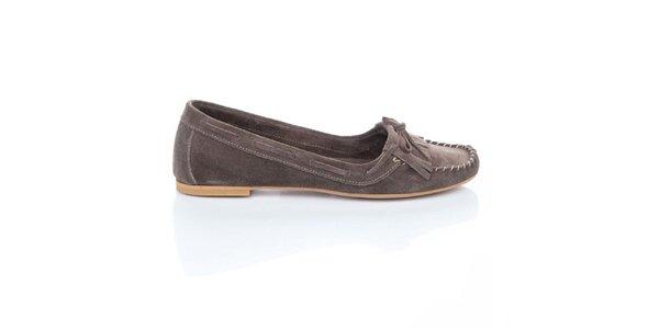 Dámské šedohnědé semišové loafers s třásněmi a mašlí Bueno