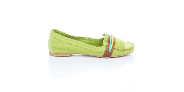 Dámské světle zelené semišové boty s barevnými proužky Bueno