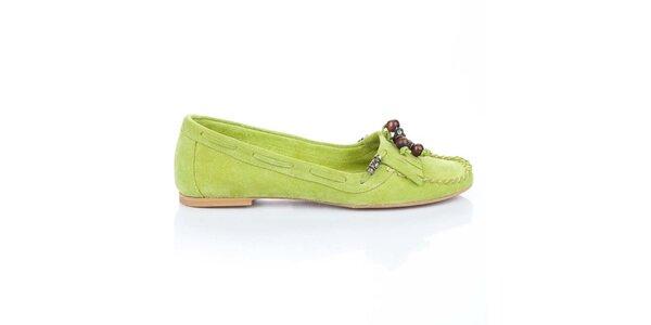 Dámské zelené semišové mokasíny Bueno