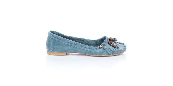 Dámské modré semišové mokasíny Bueno