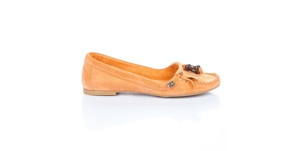 Dámské oranžové semišové mokasíny Bueno