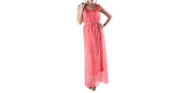 Dámské dlouhé korálově červené hedvábné šaty Keysha