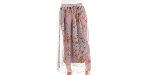 Dámská hedvábná sukně s květinovým potiskem Keysha
