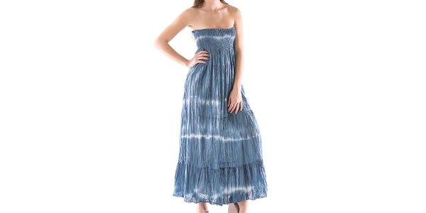 Dámské dlouhé modré šaty bez ramínek Keysha
