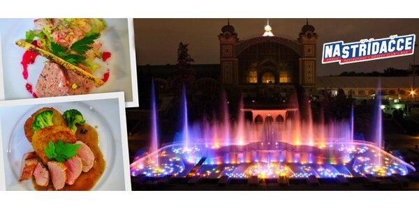 Večeře o 3 chodech a koncert na Křižíkově fontáně