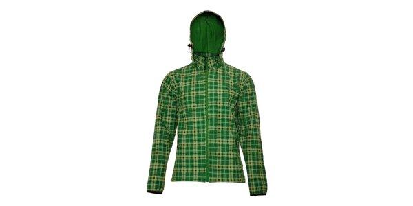 Pánská technická softshellová bunda Envy v zelené barvě s kostkovaným vzorem