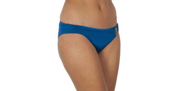 Dámské modré plavkové kalhotky s ozdobou Calvin Klein
