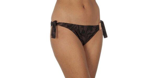 Dámské hnědě žíhané plavkové kalhotky Calvin Klein - na zavazování